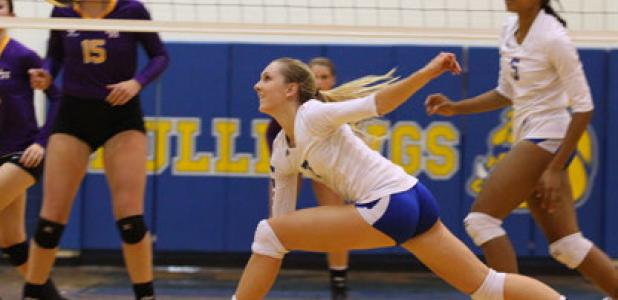 Copperas Cove junior Katy Ranes chases down a pass during the Lady Dawgs 3-1 (25-20, 15-25, 25-18, 25-21) win over the Liberty Hill Lady Panthers Tuesday at Bulldawg Gymnasium.
