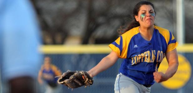 Copperas Cove pitcher Carlee Duran hurls a pitch towards home plate in the second inning against Midway Tuesday in Copperas Cove. Midway won 3-0.