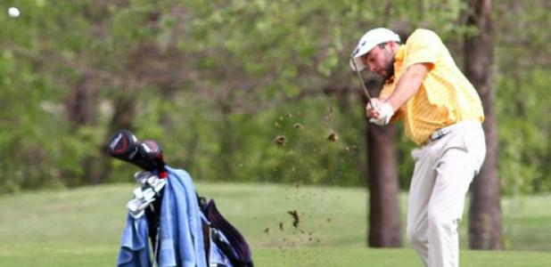 Copperas Cove's Hunter Wehmeier hits his approach shot on hole eight during day one of the District 8-5A Golf Tournament at the Stonetree Golf Course in Killeen on Monday.