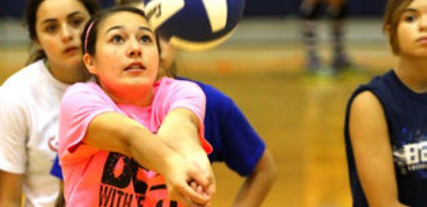 Incoming freshman McKenna Miller passes the ball during the 2014 Lady Dawgs volleyball camp Wednesday at Copperas Cove High School.