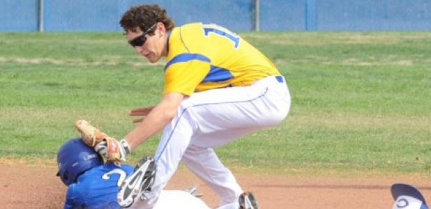 Copperas Cove second baseman Kyle Winstead tags out a runner during the opening game of the annual Bulldawgs baseball tournament. The Dawgs dropped their first contest 15-9 and will open bracket play tomorrow.