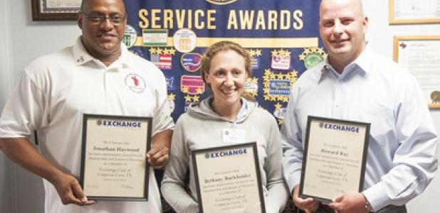 Jonathan Haywood, Bethany Barkholder and Howard Ray were each inducted into the National Exchange Club during Wednesdays meeting at Lil Tex Restaurant in Copperas Cove.
