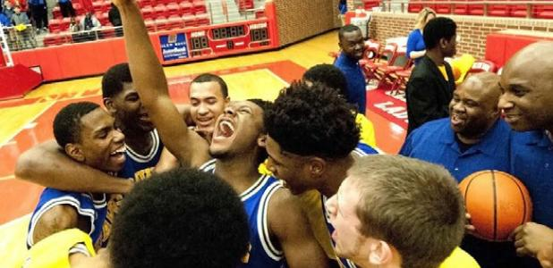 The Copperas Cove Bulldawgs celebrate their 69-57 win over Garland Lakeview Centennial Wednesday at Tiger Gymnasium in Glen Rose.The Bulldawgs face Richardson Berkner in the Area round at 7:30 tonight at McLennan Community College's Highlander gymnasium.