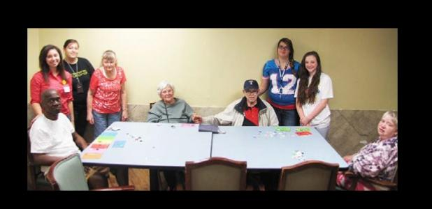 Local Texas Association of Future Educators spent Saturday entertaining and interacting with local nursing home residents, playing Halloween bingo.