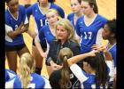 FILE PHOTO - Copperas Cove head coach Cari Lowery talks to her team during their district contest at Waco Midway last year. Lowery and the Lady Dawgs are looking for their 10th-consecutive year in the state rankings and state playoffs and Lowery is looking to collect her 700th win as a coach.