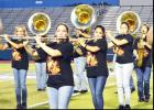 "CCLP/LYNETTE SOWELL - The Pride of Cove Band and Color Guard performs its fall UIL and halftime show ""Out of Darkness"" publicly for the first time at Thursday night's Spirit Spectacular at Bulldawg Stadium"