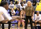 CCLP/DAVID MORRIS - Cove head volleyball coach Cari Lowery yells instruction during the Lady Dawgs' five-set win over Liberty Hill on Aug. 30. The Lady Dawgs host Ellison tonight for game two of District 8-6A action.