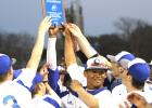 CCLP File Photo - Bechtold, right center, celebrates the Cove Tournament championship with his teammates. Bechtold was named to the TSWA 6A All-State Baseball Second Team as an outfielder.