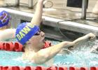 CCLP/TJ MAXWELL - Copperas Cove junior Carson McVeigh celebrates after winning the 50-yard freestyle race during the District 10-6A Swimming and Diving Championships Saturday at the Clements Boys and Girls Club.