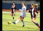 CCLP/LEE LETZER - Cove senior Ali McBride takes a shot on goal during the Lady Dawgs 0-0 tie with Killeen.