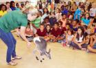 CCLP/DAVID J. HARDIN - Benjamin the red kangaroo from Australia jumps for the children at the Copperas Cove Public Library during the summer reading event Wild Things Zoofari, which was held last Thursday.