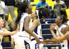 CCLP/TJ MAXWELL - The Copperas Cove Lady Dawgs celebrate after rallying from 18 points down in the fourth quarter to win 50-48 over the visiting Shoemaker Lady Wolves on Tuesday. The Lady Dawgs improve to 20-8, 3-3 in 12-6A.