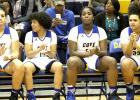CCLP/TJ MAXWELL - Copperas Cove senior (from left) Dejhana Butler, Rita Phillips, Chyanne Chapman and Kayla McCloud get set to play their final contest in the season finale against Killeen Tuesday at Bulldawg gymnasium.