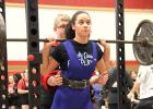 COURTESY PHOTO/TONY ADAMS -- Copperas Cove junior Kianna Childers competes in the Belton powerlifting meet on Saturday. Childers finished fifth in the 165-pound weight class.
