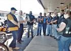 CCLP/LYNETTE SOWELL Copperas Cove Mayor Frank Seffrood talks about a city proclamation for Motorcycle Safety and Awareness month on Friday afternoon in front of Frames & Things in Cove Terrace Shopping Center. Robert Weidinger II, owner of the shop and a member of Boozefighters Club chapter 78, hosted a gathering of motorcycle club representatives to receive the proclamation from Seffrood.