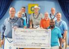 CCLP/DAVID J. HARDIN Mt. Hiram Masonic Lodge #595 members present a $352 check to Patrick Richardson of the Copperas Cove Soup Kitchen. The money was raised during a spaghetti dinner that was held at the lodge in April. On the left is Jim Johnsen, fundraising committee chair, and on right is Patrick Richardson.