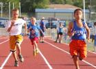 Daniel Izquierdo, 8, second from right, finishes ahead of the pack in the 8-under 50-meter Dash during the Copperas Cove Summer Track opening meet on Monday at Bulldawg Stadium. Izquierdo also finished firstin the 200-meter dash, 3200-meter run, and long jump.