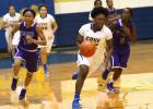 Copperas Cove's Caprica Brooks takes off on a fast break against Waco University