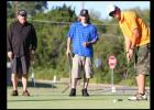 "Mike Cataria watches his putt roll towards the hole as teammates Richard 'Smitty"" Smith. left, and son, Kyle Smith look on during the Morning Exchange Club of Copperas Cove's 16th annual golf tournament."