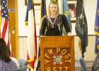 Copperas Cove Senior Mikayla Miller reads her Voice of Democracy essay during the awards ceremony Saturday for VFW Post 8577. Miller received a $500 scholarship from the post that will be used for tuition and books.