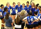 Copperas Cove head coach Cari Lowery talks to her squad during a timeout against Killeen last Tuesday. Their wins over Killeen and Harker Heights secured their second-place spot heading into the postseason .The Lady Dawgs finish out their district slate against Belton tonight.